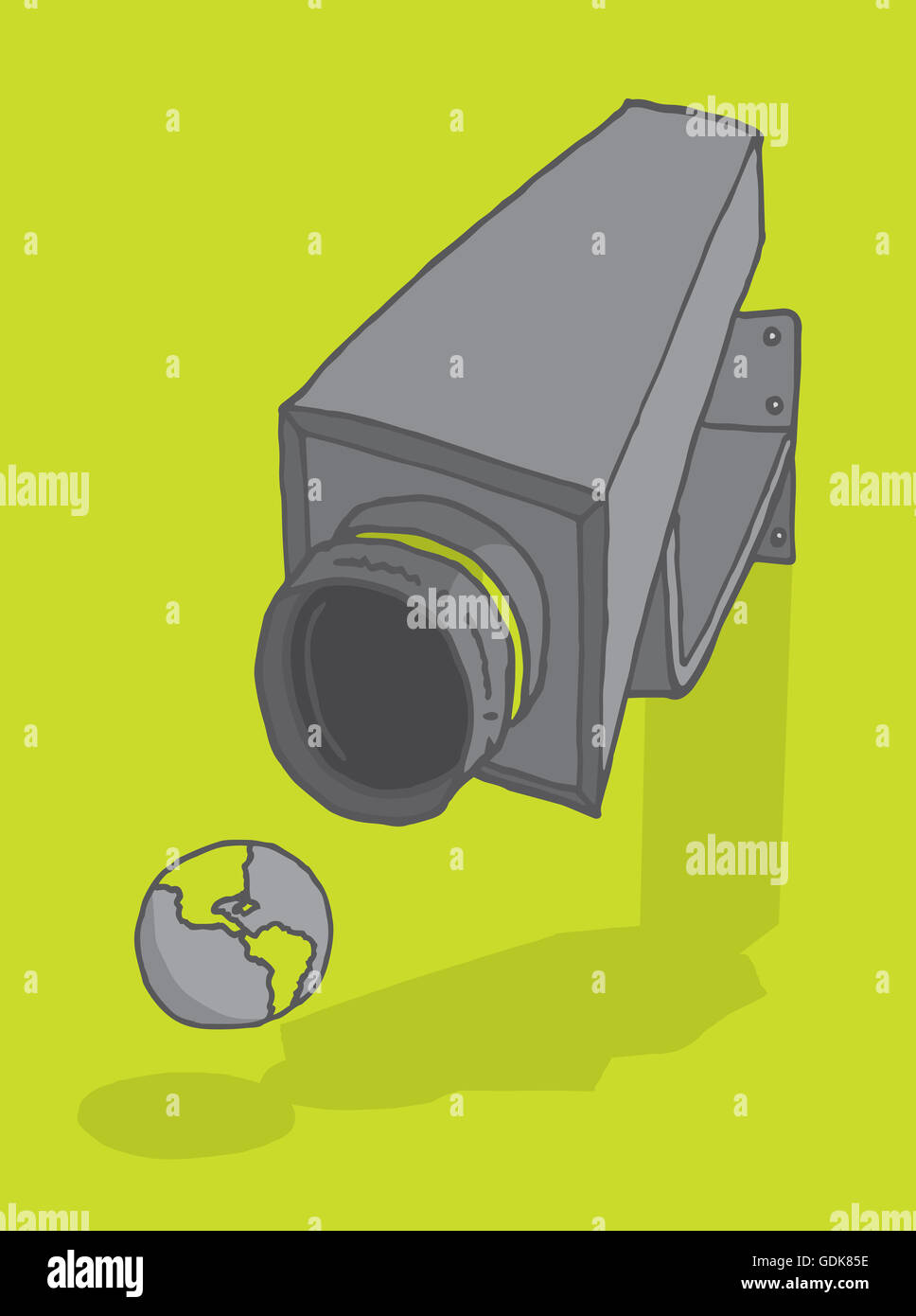 Cartoon illustration of a surveillance camera aiming at planet earth - Stock Image
