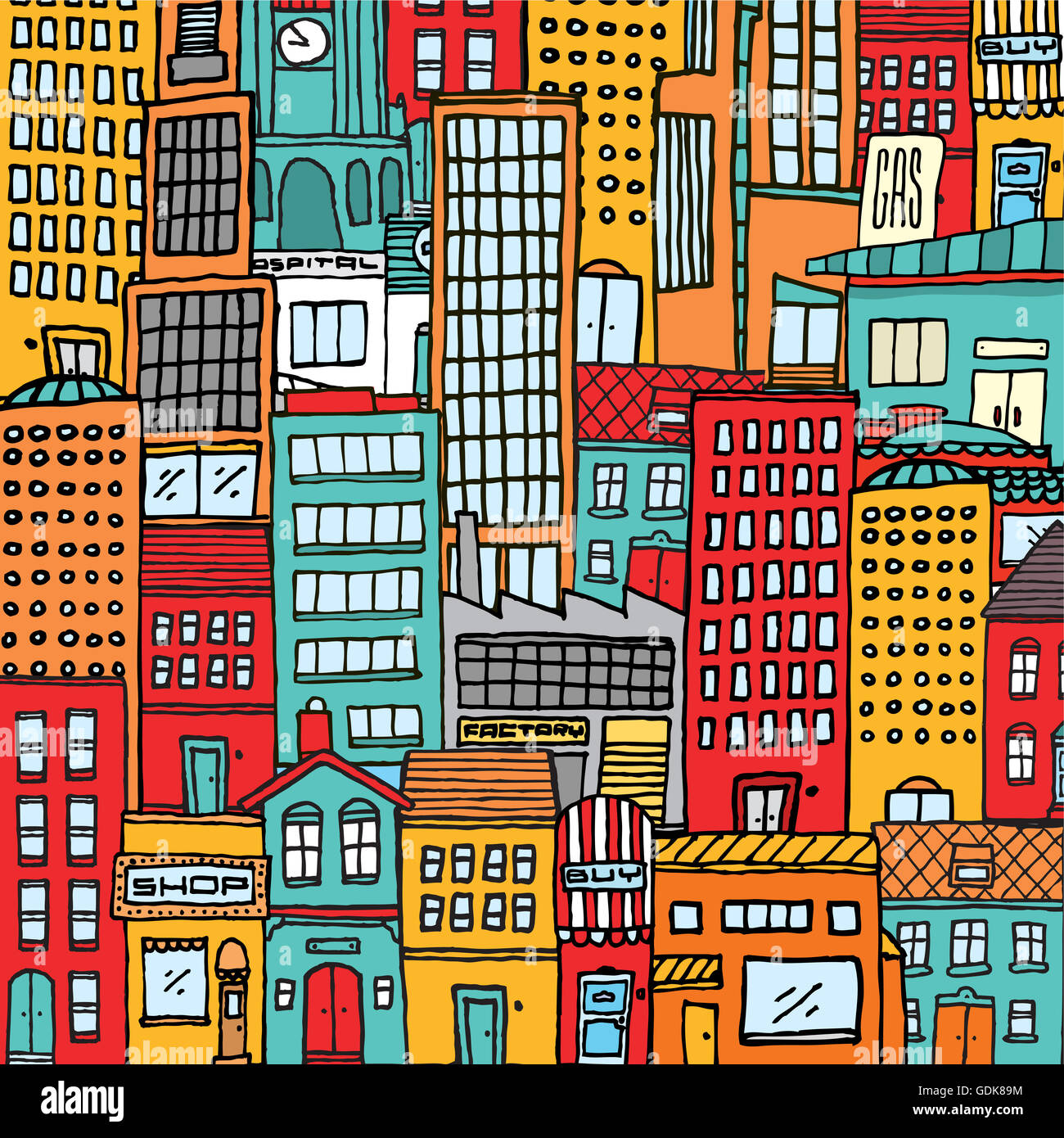 cartoon illustration background of a colorful busy city full with houses and buildings