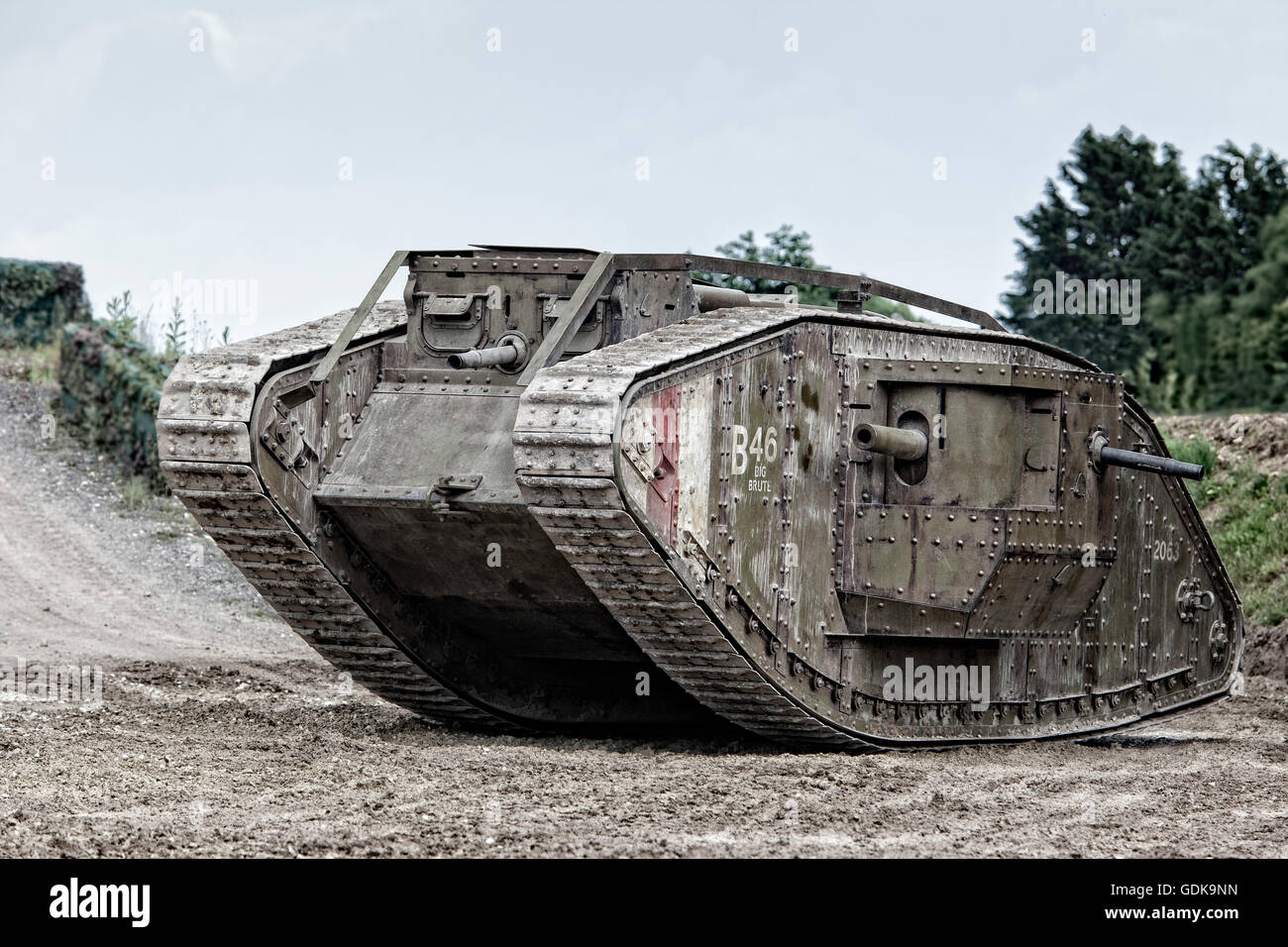 Tankfest, bovington, 2016 Mark IV First World War Tank (working full size replica of original) as used in The War - Stock Image