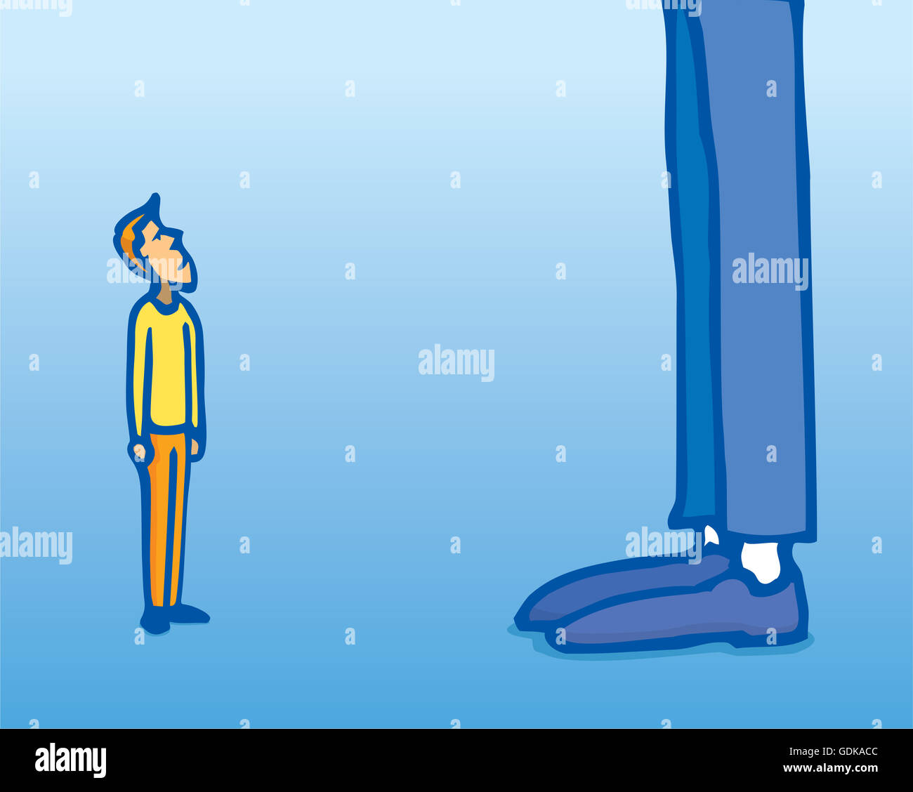 Cartoon illustration of huge contrast between small man and giant Stock  Photo - Alamy