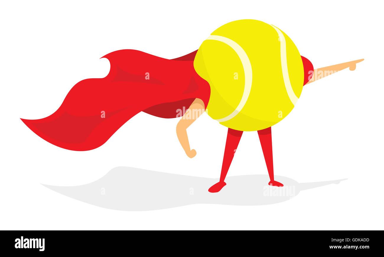 Cartoon illustration of tennis ball super hero with cape - Stock Image