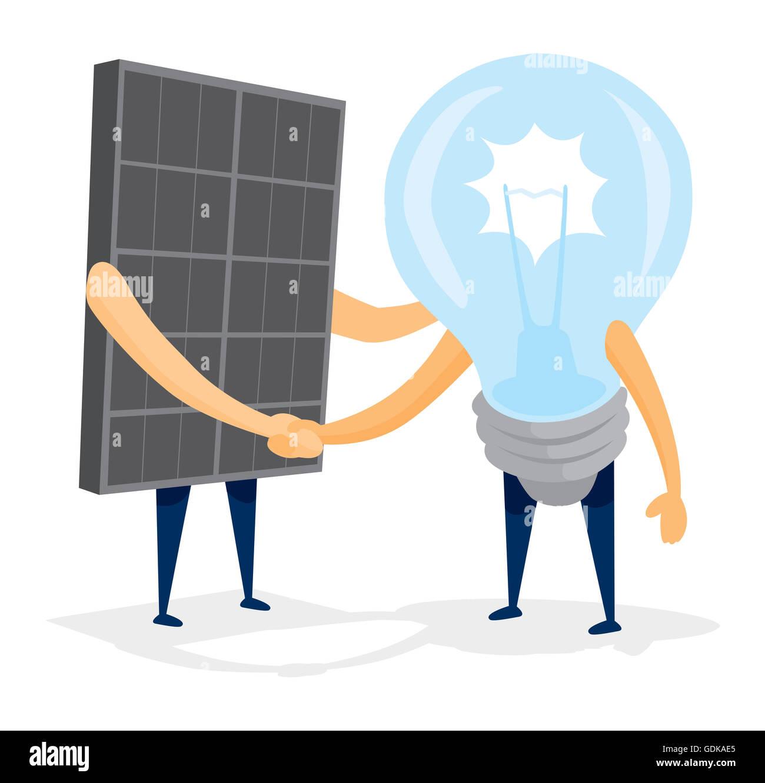 Cartoon Illustration Of Solar Energy Panel Shaking Hands With Light Stock Photo Alamy