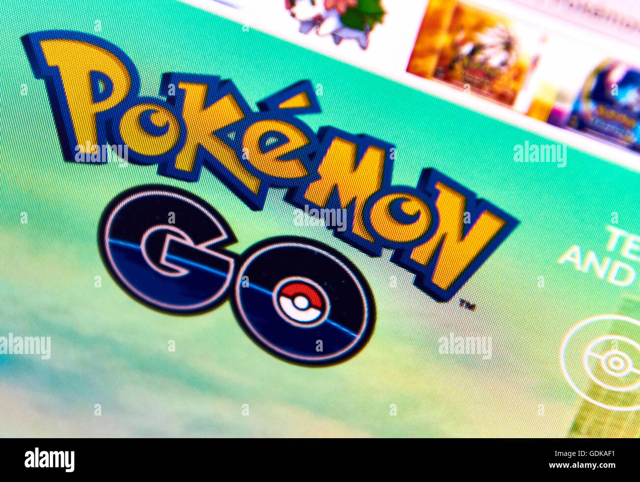 Pokemon Go home page on a monitor screen - Stock Image