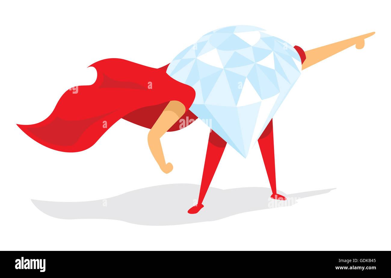 Cartoon illustration of super hero diamond with cape - Stock Image