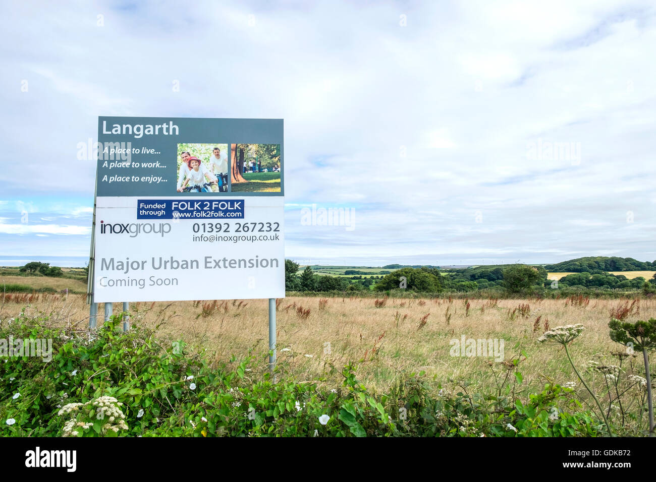 A greenfield site at Langarth on the outskirts of Truro in Cornwall, UK a Major urban extension is soon to be developed - Stock Image