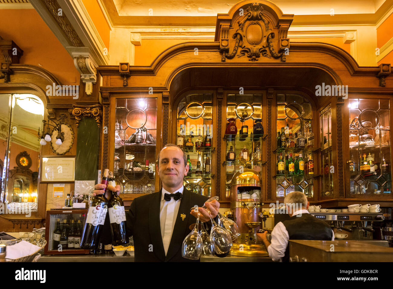 Café Majestic, art nouveau cafe, tavern, guests at tables, Panorama, Dining Restaurant, Porto, District of - Stock Image