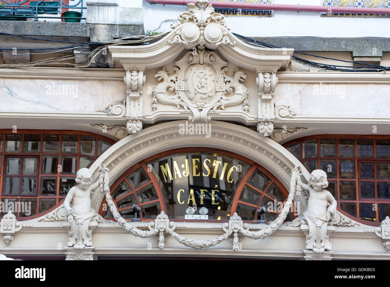 Café Majestic, art nouveau cafe, tavern, dining restaurant, Porto, District of Porto, Portugal, Europe, Travel, Stock Photo