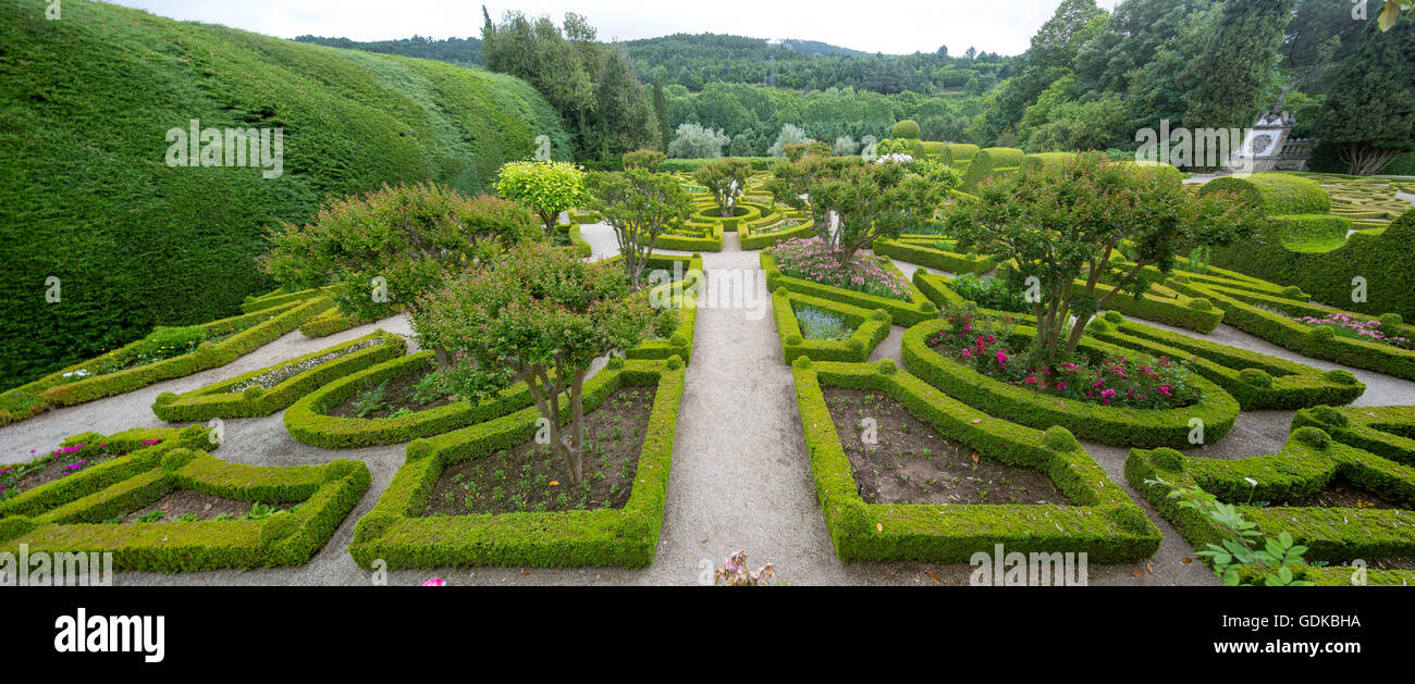 Baroque garden, landscaped gardens of the palace, Casa de Mateus, palace with large gardens, Arroios, Vila Real - Stock Image