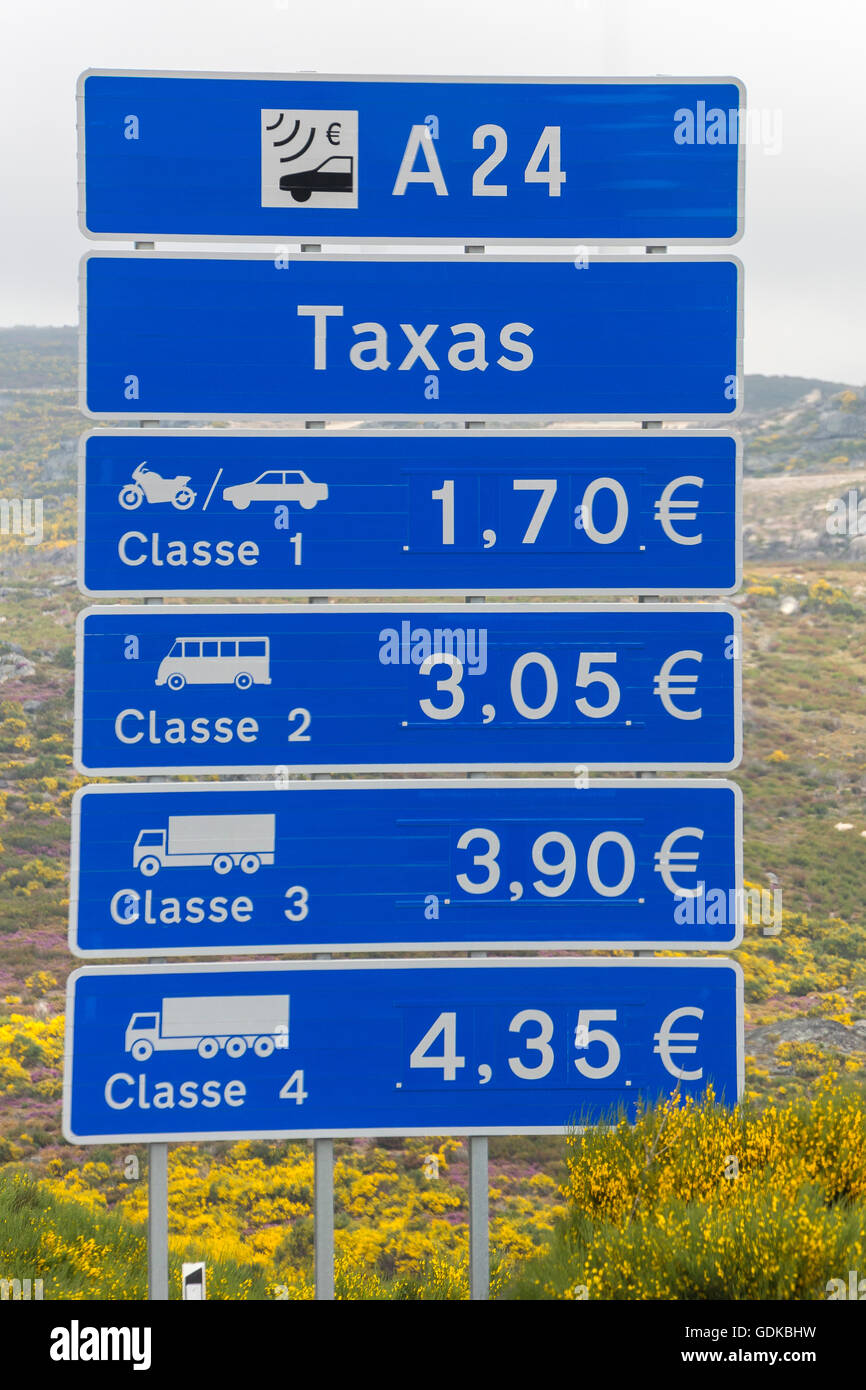 Tolls on the Portuguese highways, road sign, Mondrões, District of Vila Real, Portugal, Europe, Travel, Travel Photography Stock Photo