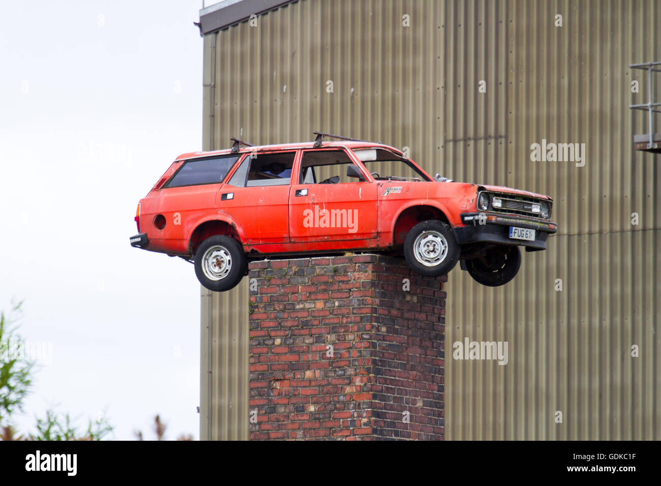 Badly Parked Car, Siding Road, Fleetwood, Nr Blackpool - Stock Image