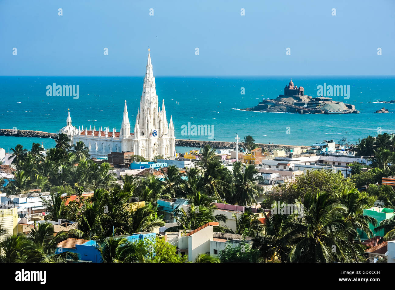Pilgrimage town Kanyakumari with pilgrimage church Our Lady of Ransom, South India, India - Stock Image