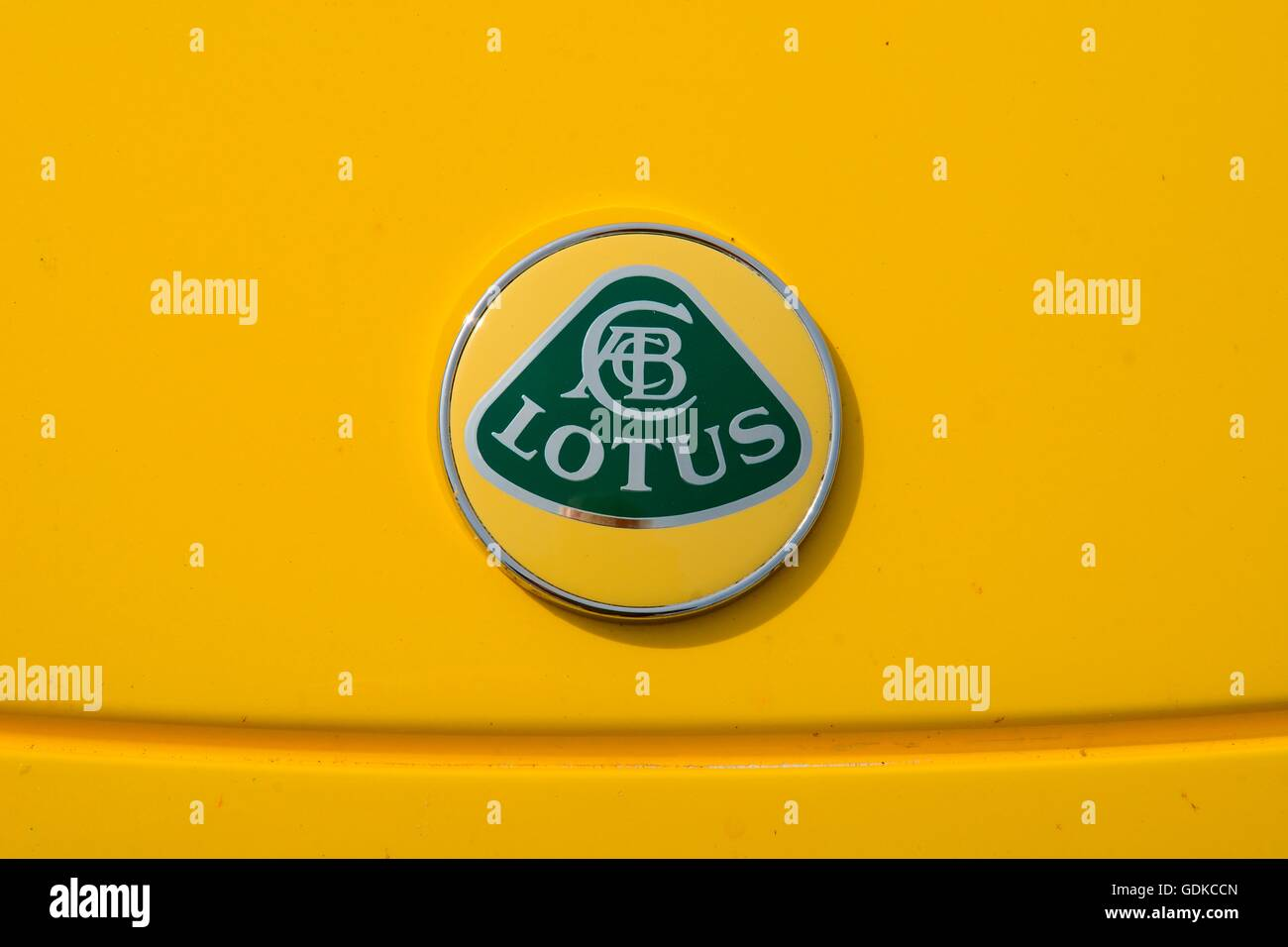 Emblem of english sports car Lotus Elise, Lotus car 2003 - Stock Image
