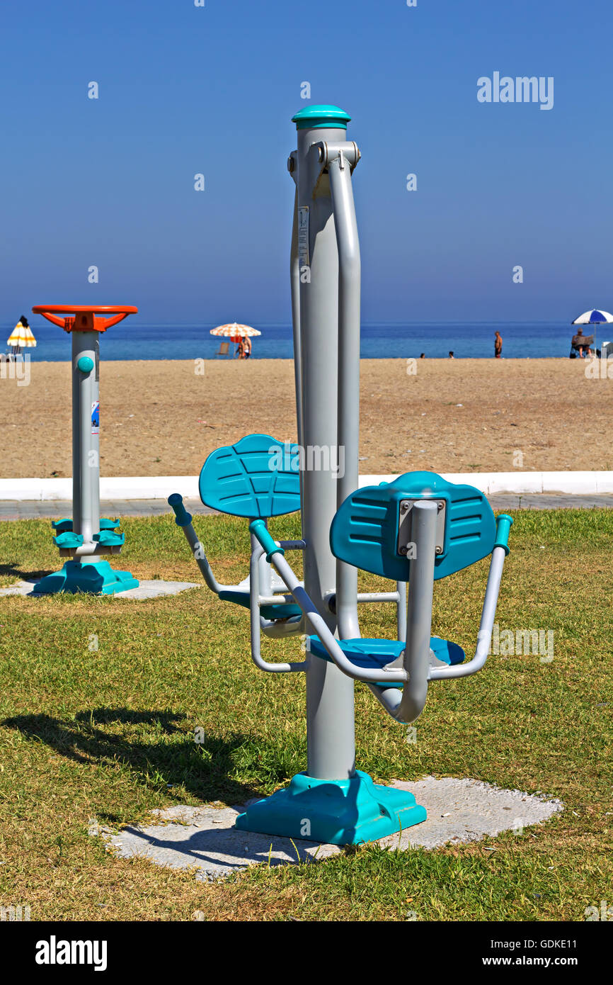 Exercise equipment on a Turkish beach, installed by the council to encourage people to stay healthy - Stock Image