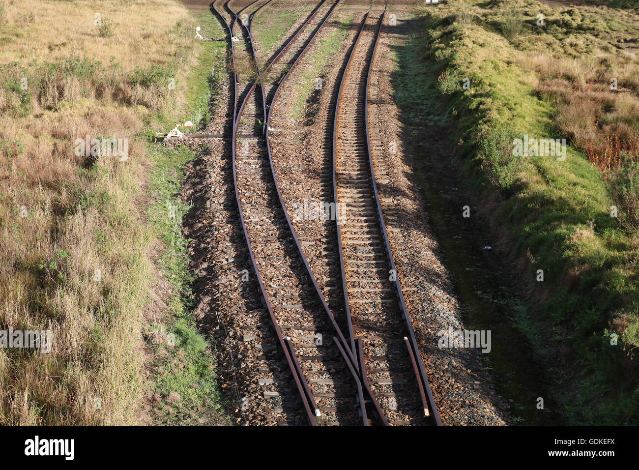 railway tracks countryside trains locomotives Stock Photo