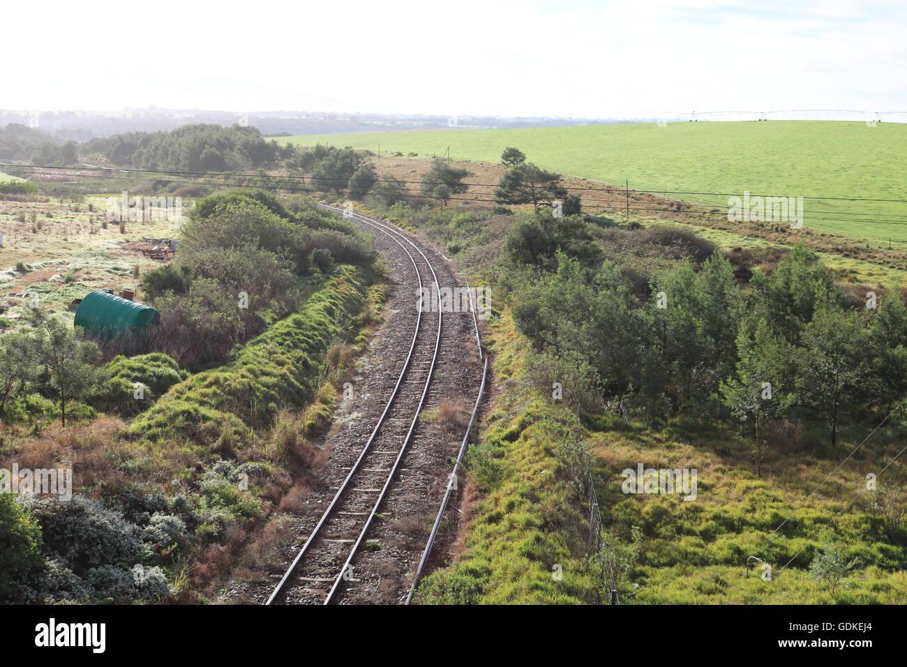 railway tracks countryside trains locomotives - Stock Image