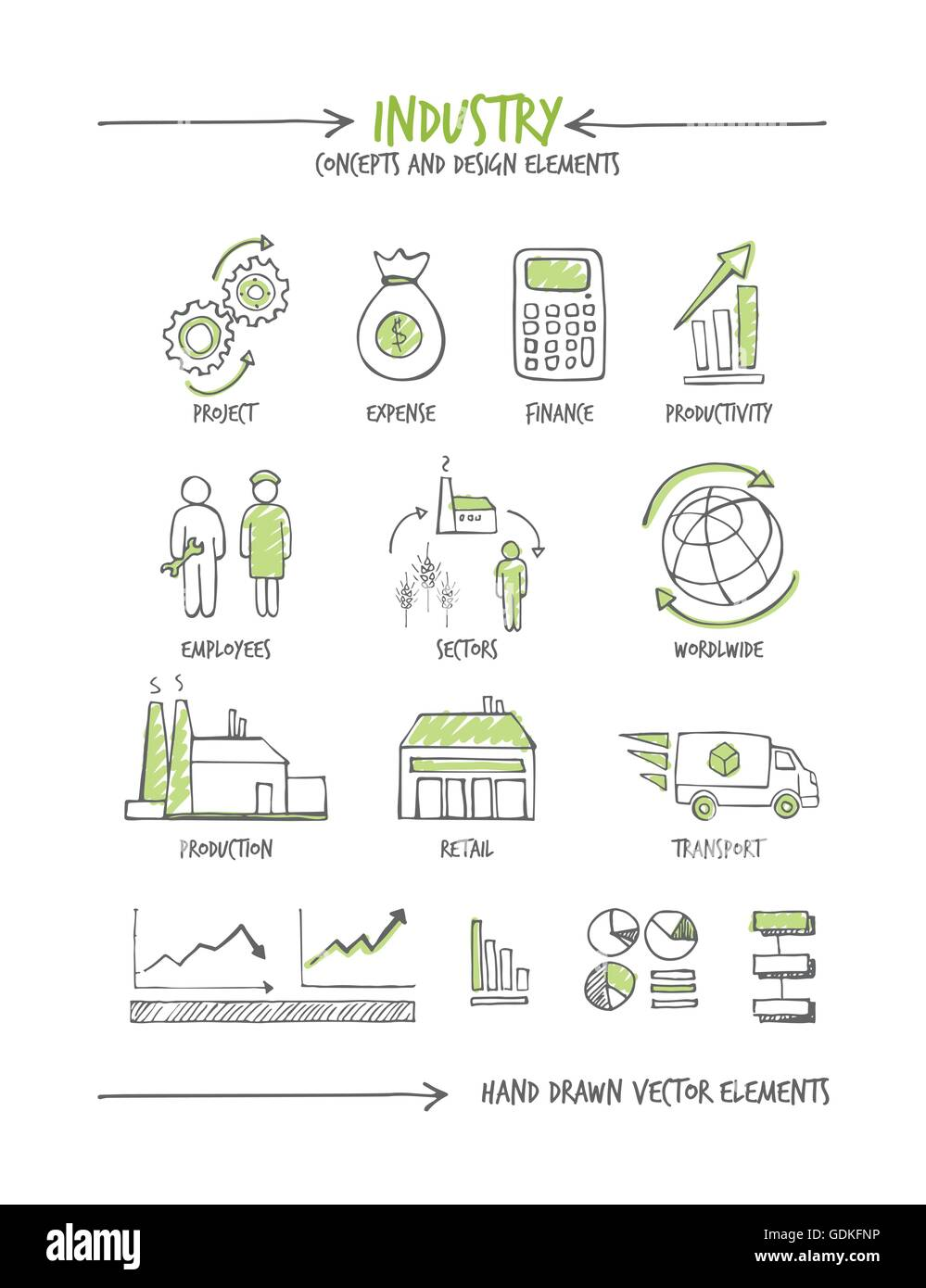 Industry and business hand drawn sketched concepts - Stock Image