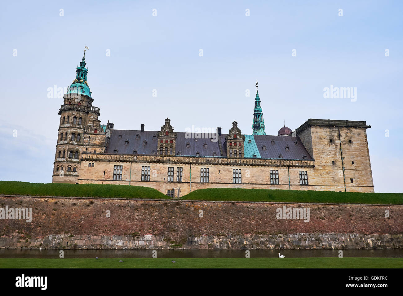 Looking up at the Elsinore Castle in Denmark, from the other side of the moat, where a white swan is swimming around - Stock Image