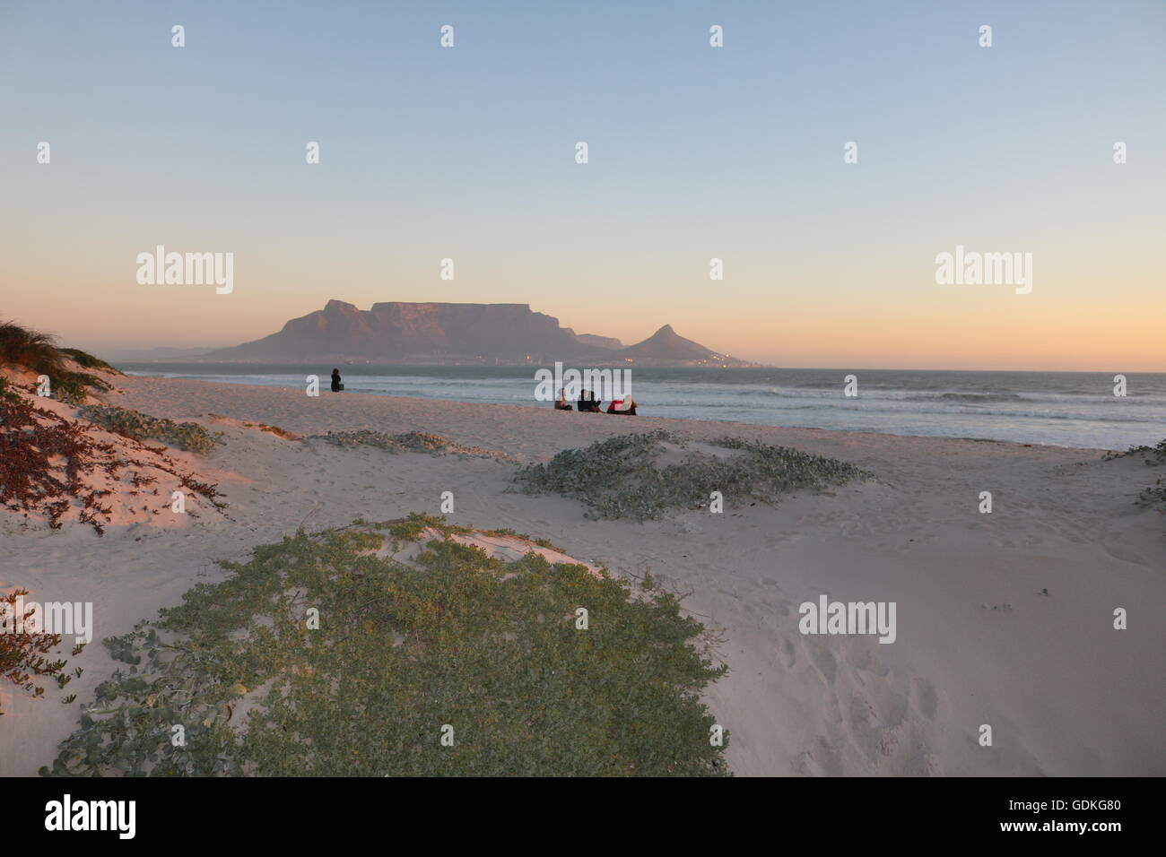 sunset over table mountain cape town south africa - Stock Image