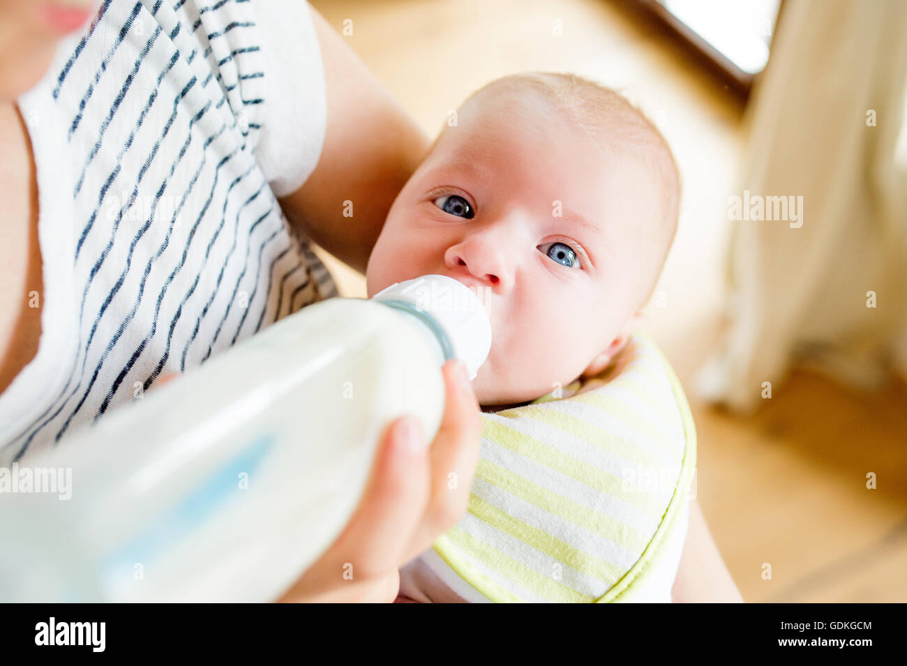 Unrecognizable mother feeding baby son, milk in bottle, close up - Stock Image