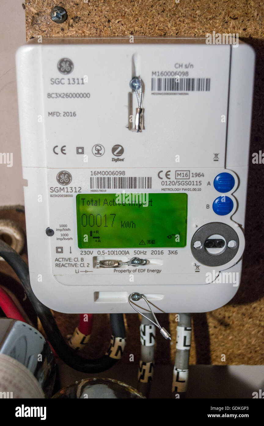 A newly installed EDF GE SGM1312 LCD display smart electricity meter showing reading of 17kWh in a wine cellar in - Stock Image