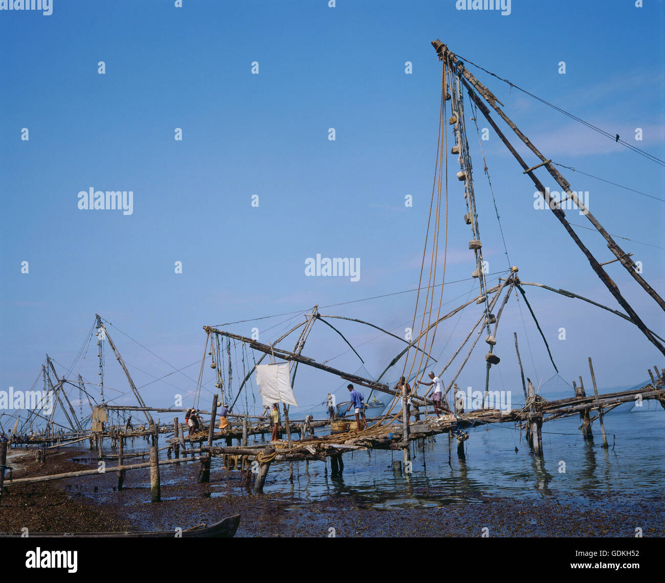 geography / travel, India, Kerala, Keralam, landscapes, fisherman on the isle Cochin, - Stock Image