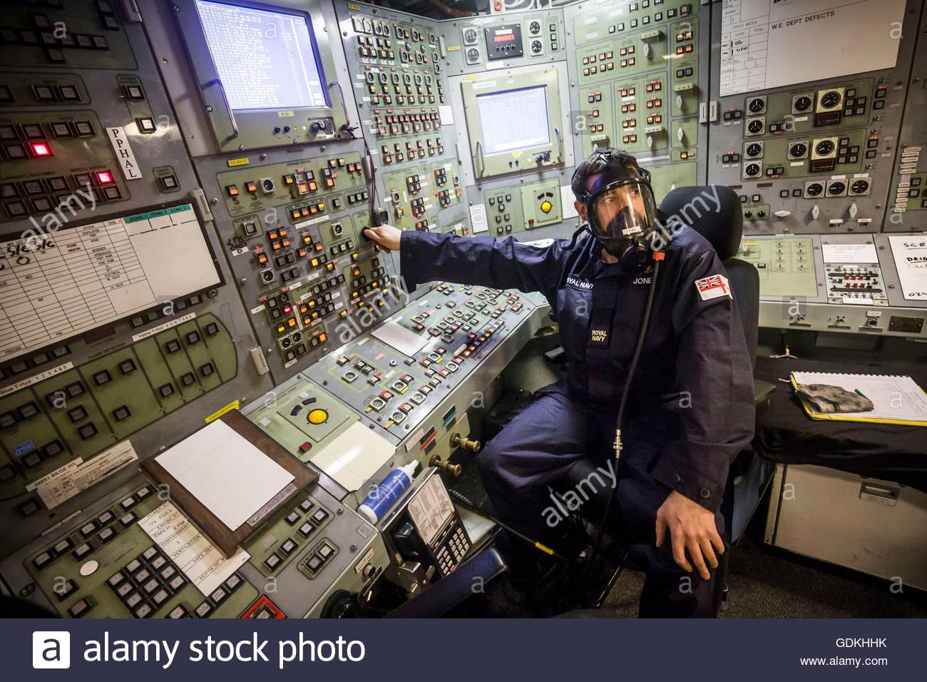 File photo dated 20/01/16 of Engineering Technician Jones in a posed photograph wearing an emergency breathing system - Stock Image