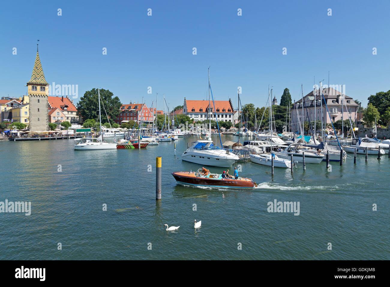 harbour with Mangenturm, Lindau, Lake Constance, Bavaria, Germany Stock Photo
