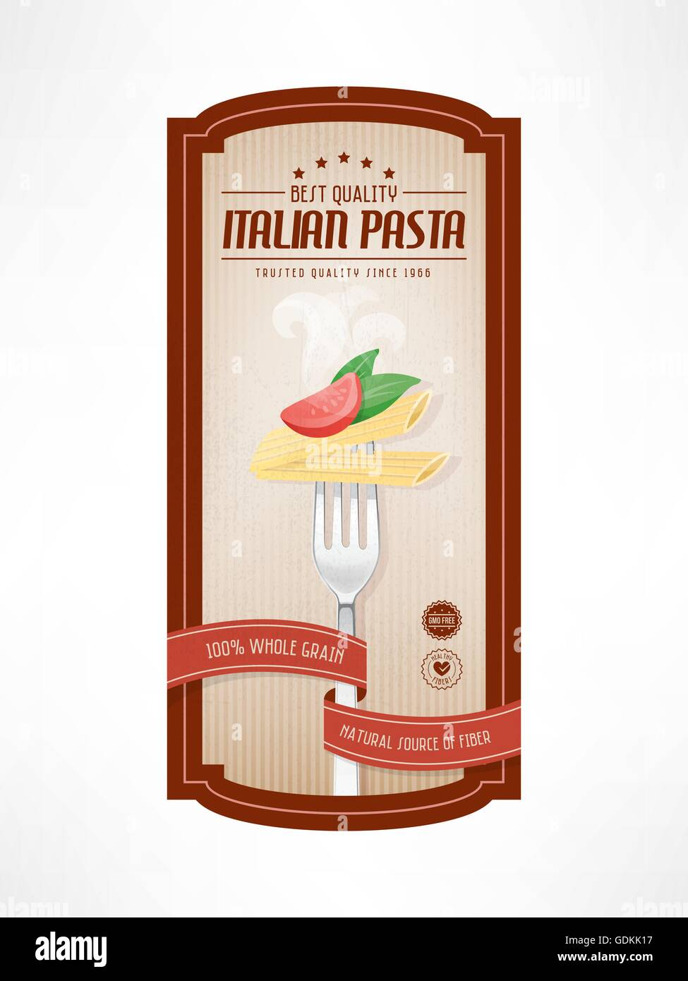 pasta vintage food label with fork on striped background stock