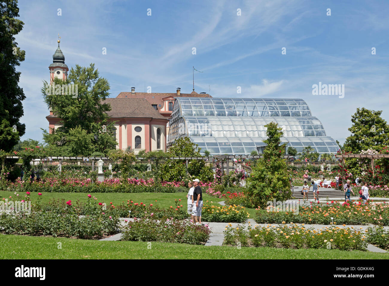 church, rose garden, Mainau Island, Lake  Constance, Baden-Wuerttemberg, Germany - Stock Image