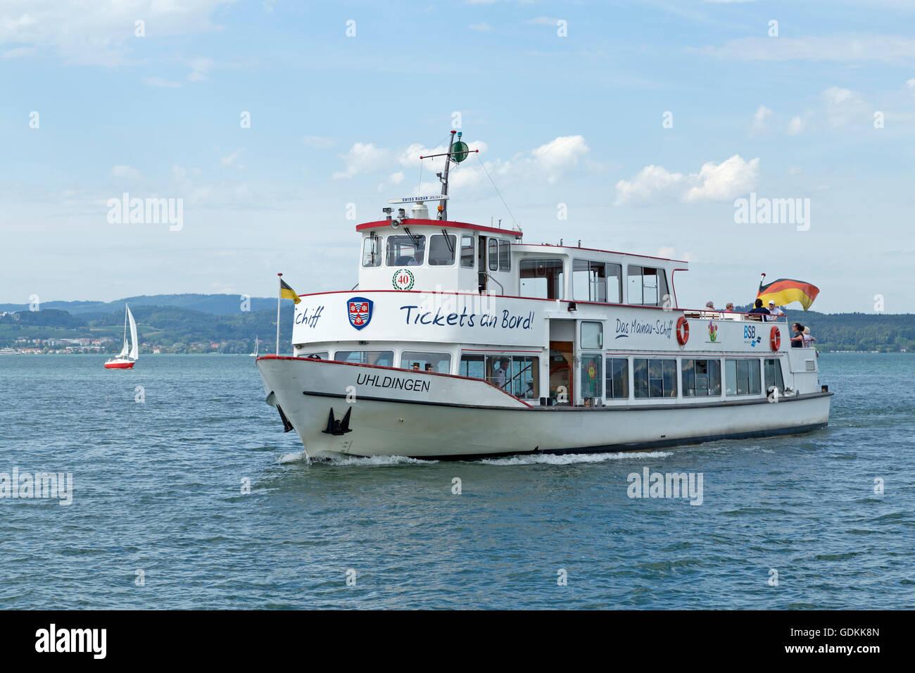 ferry off Mainau Island, Lake Constance, Baden-Wuerttemberg, Germany - Stock Image