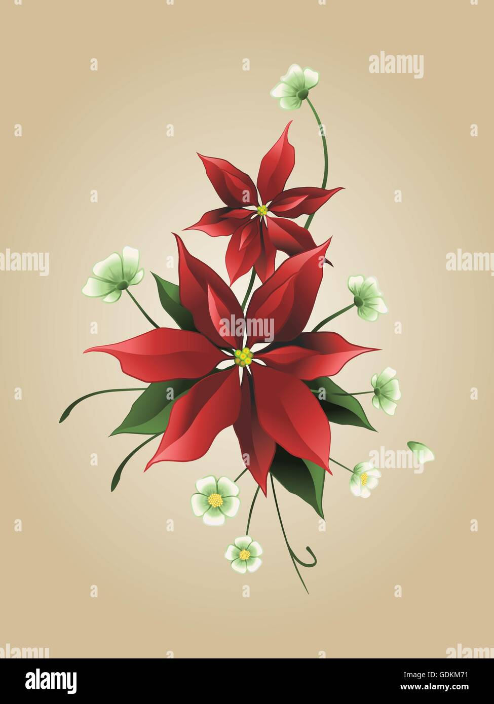 Red poinsettia flower on a sepia background, Christmas card - Stock Vector