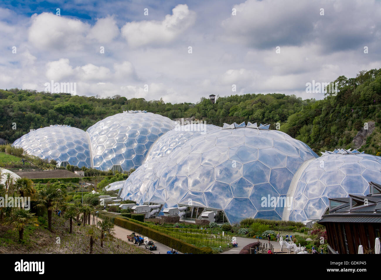 The Biomes at the Eden Project in Cornwall, UK - Stock Image