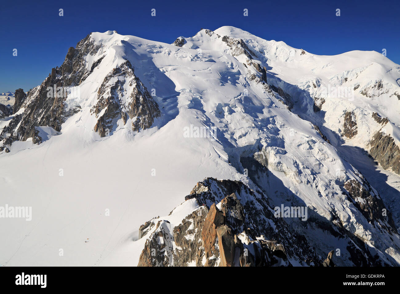 Mont Blanc viewed from Aiguille du Midi, France - Stock Image