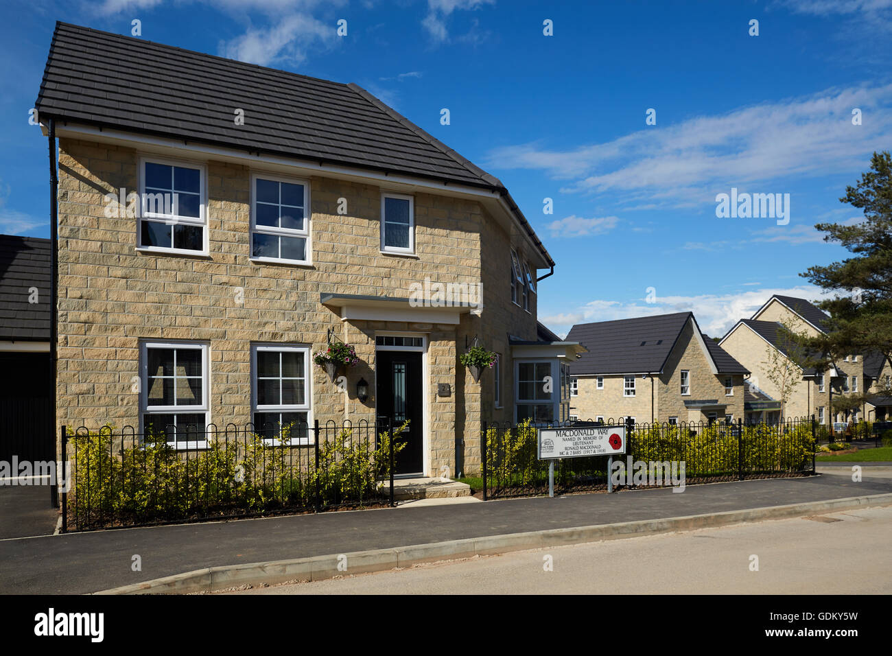 Barratt Quernmore Park in Lancashire, lancashire UK new estate build houses store sandstone modern family home uk - Stock Image