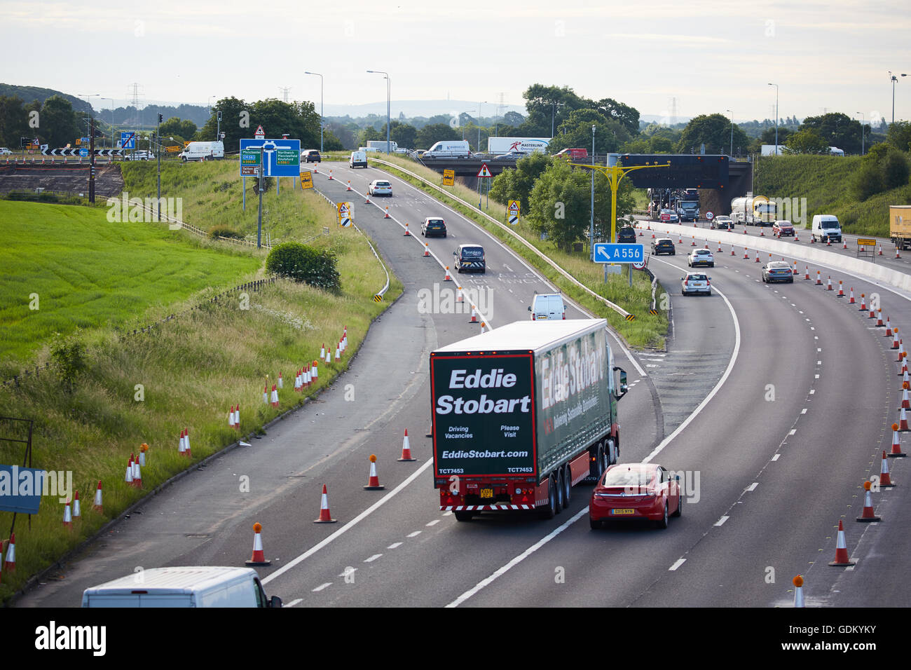 A556 Knutsford  junction 19 M6    Motorway dual carriageway relief road under construction mud dirt unfinished Tabley - Stock Image
