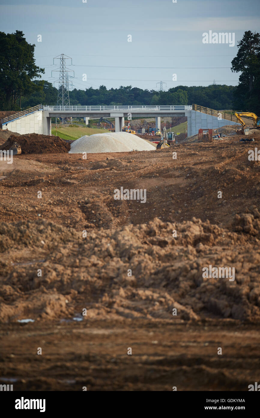 A556 Knutsford to Bowdon Improvement junction 19 M6    Motorway dual carriageway relief road under construction Stock Photo