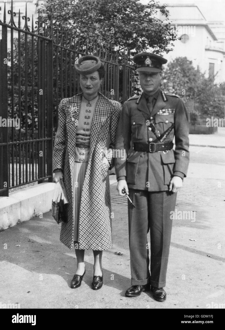 The Duke and Duchess of Windsor photographed outside their Paris home on the Boulevard Suchet. - Stock Image