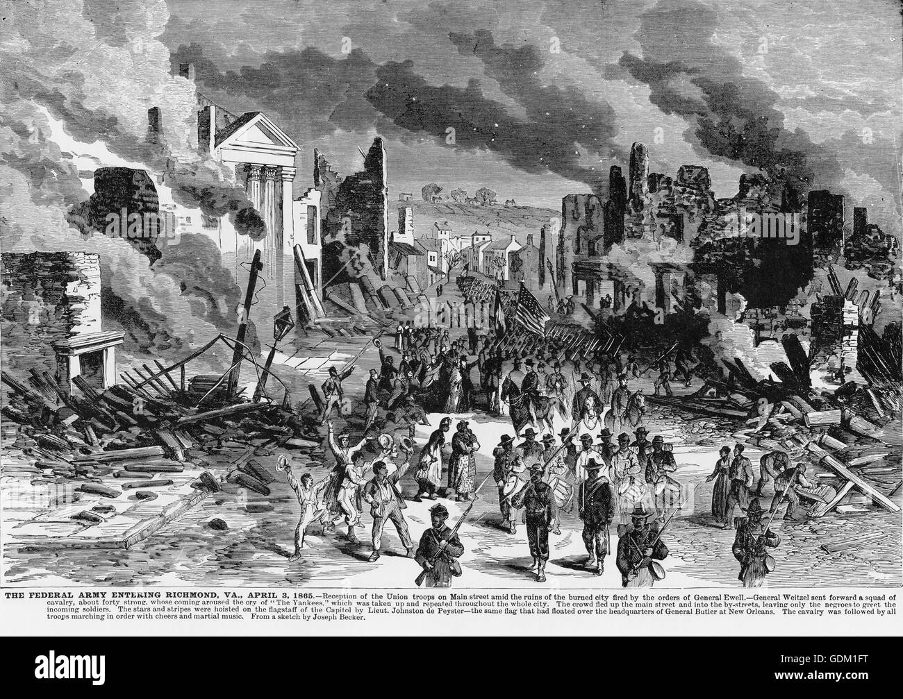 Federal Army Entering Richmond, VA. 1865. Illustration from Frank Leslie's Illustrated Newspaper. - Stock Image