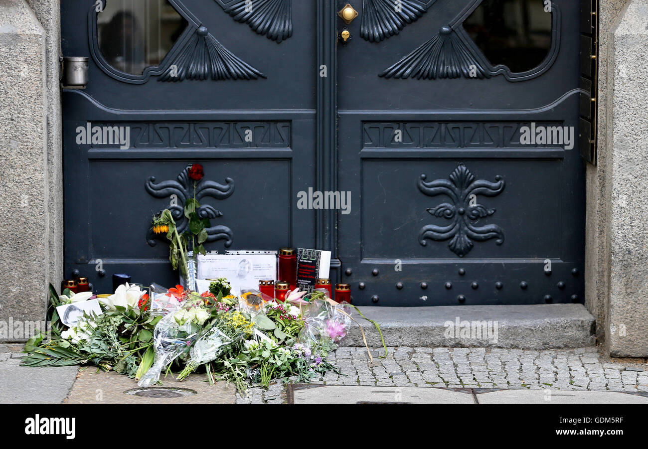 322dab86e Flowers and memorial candles outside the entrance to the Unister company  headquarters in Leipzig, Germany, 18 July 2016. The Leipziger internet  company ...
