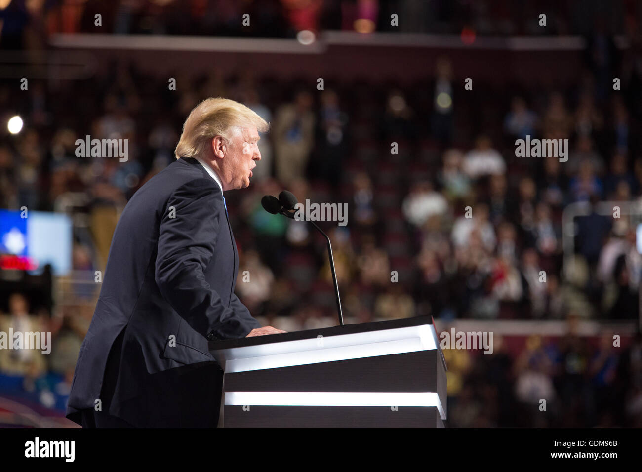 Cleveland, Ohio, USA. 18th July, 2016. Donald J. Trump introduces his wife Melania. First night at the Republican - Stock Image