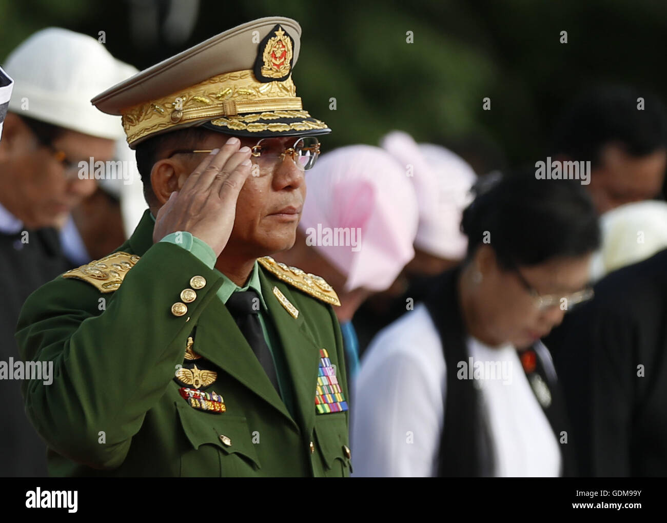 Yangon, Myanmar. 19th July, 2016. Commander-in-Chief of the Defense Services Senior-General Min Aung Hlaing attends - Stock Image