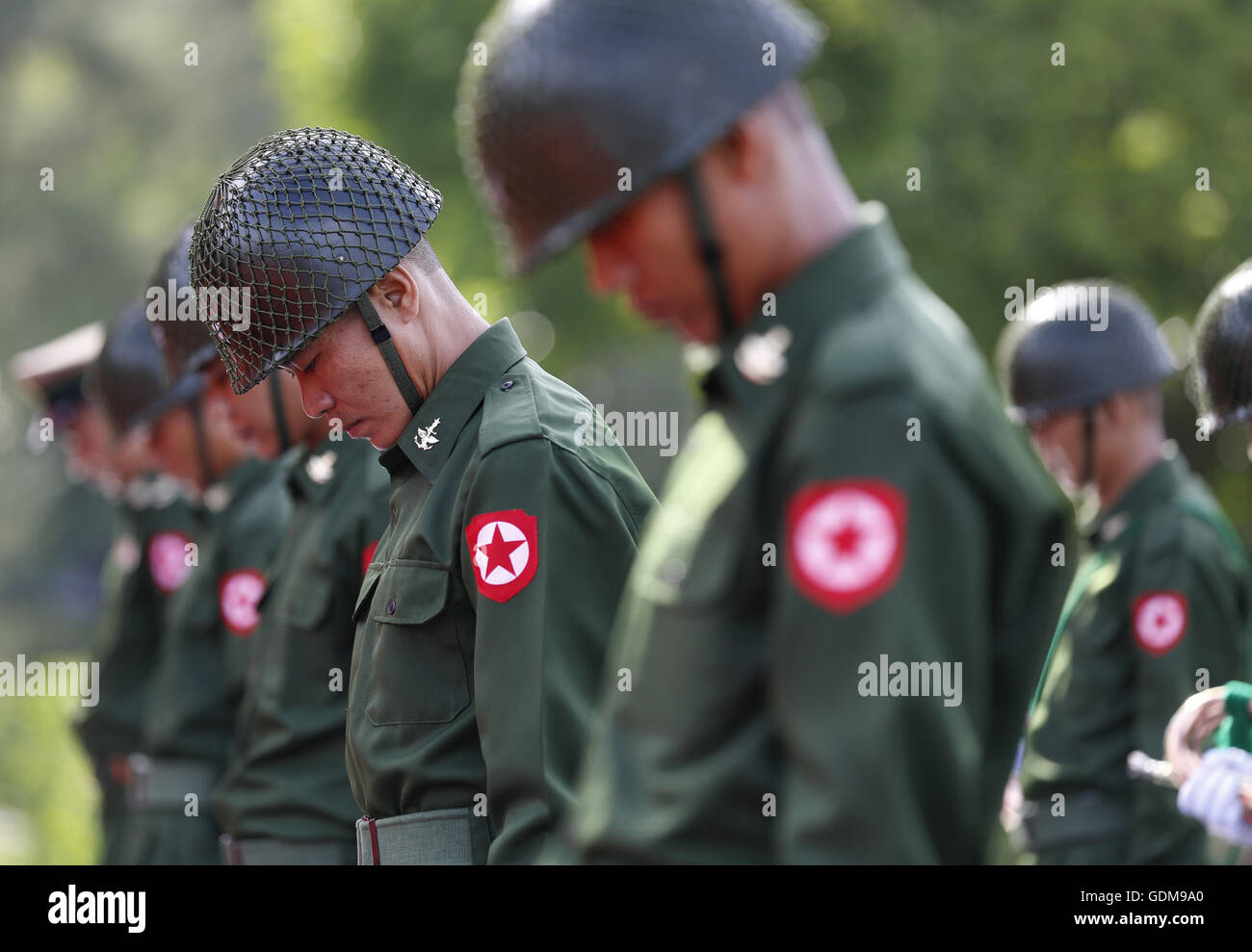 Yangon, Myanmar. 19th July, 2016. Honor guards take part in a ceremony to mark the 69th Martyrs' Day in Yangon, - Stock Image