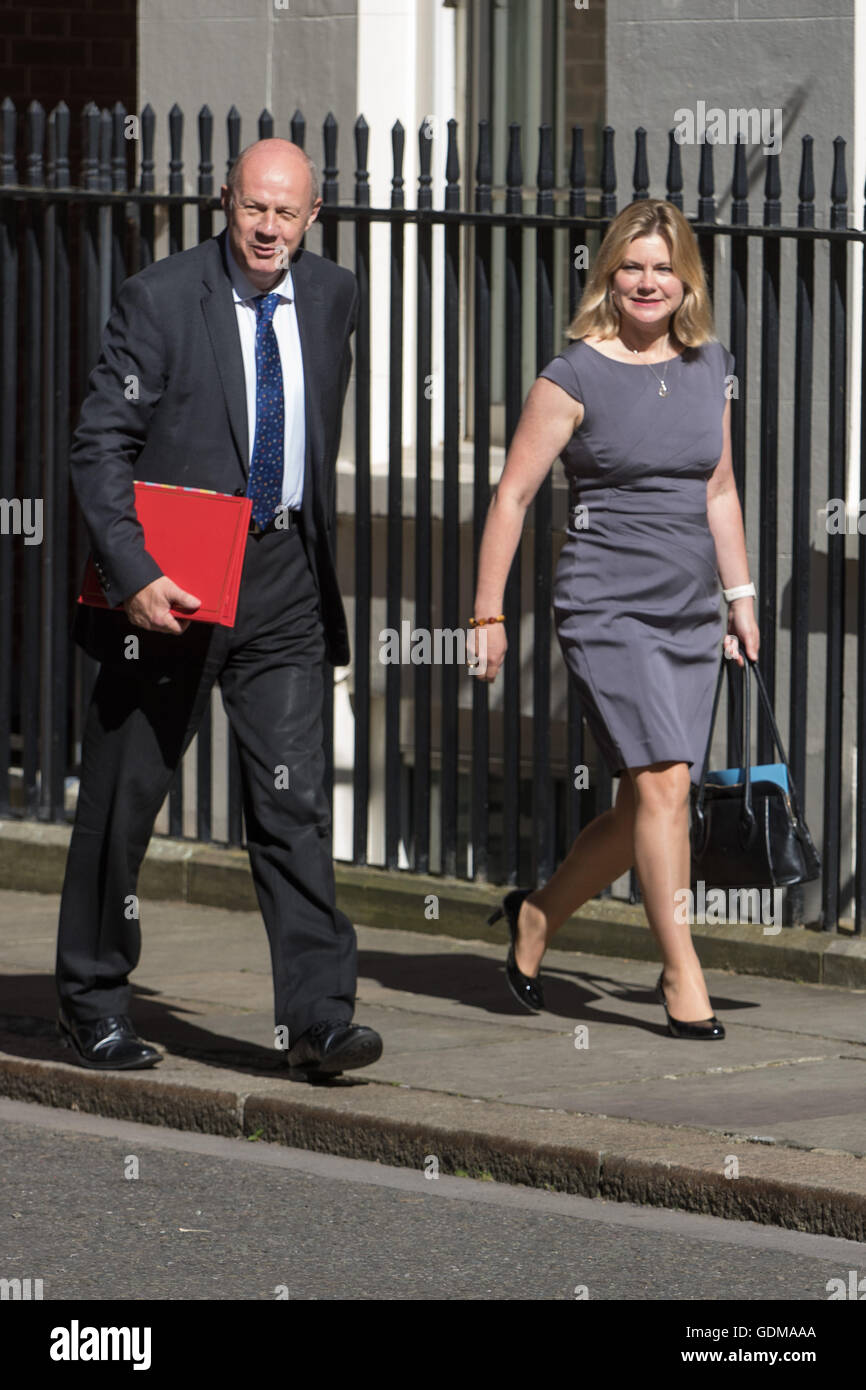 Downing Street, London, July 19th 2016. Work and Pensions Secretary Damian Green and Education Secretary Justine - Stock Image