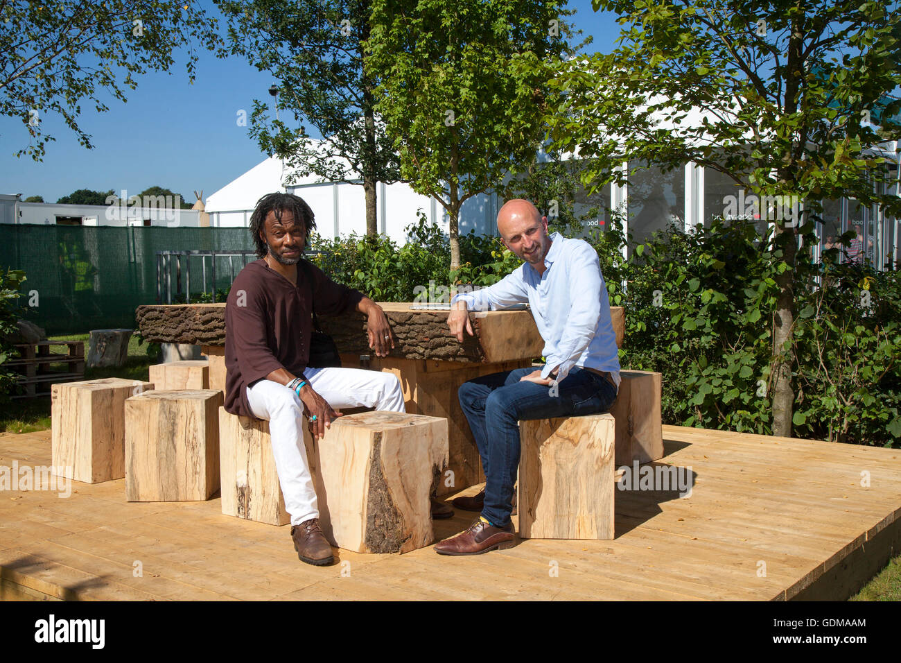 Knutsford, Cheshire, UK. 19th July, 2016. RHS Tatton Park Flower Show. Danny Clarke & Ed Lister from sponsors - Stock Image