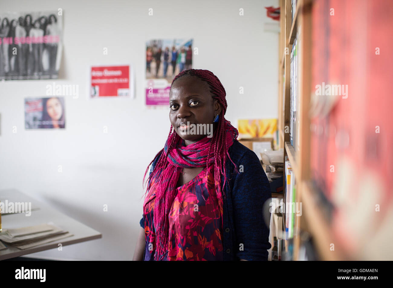 Berlin, Germany. 18th July, 2016. Ida Nabatereegga, speaker for the organization 'Terre des Femmes' stands - Stock Image