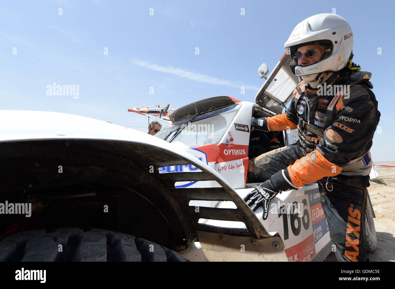 Dunhuang, China's Gansu Province. 19th July, 2016. MD RALLYE SPORT's driver Cornelis Koolen takes off the - Stock Image