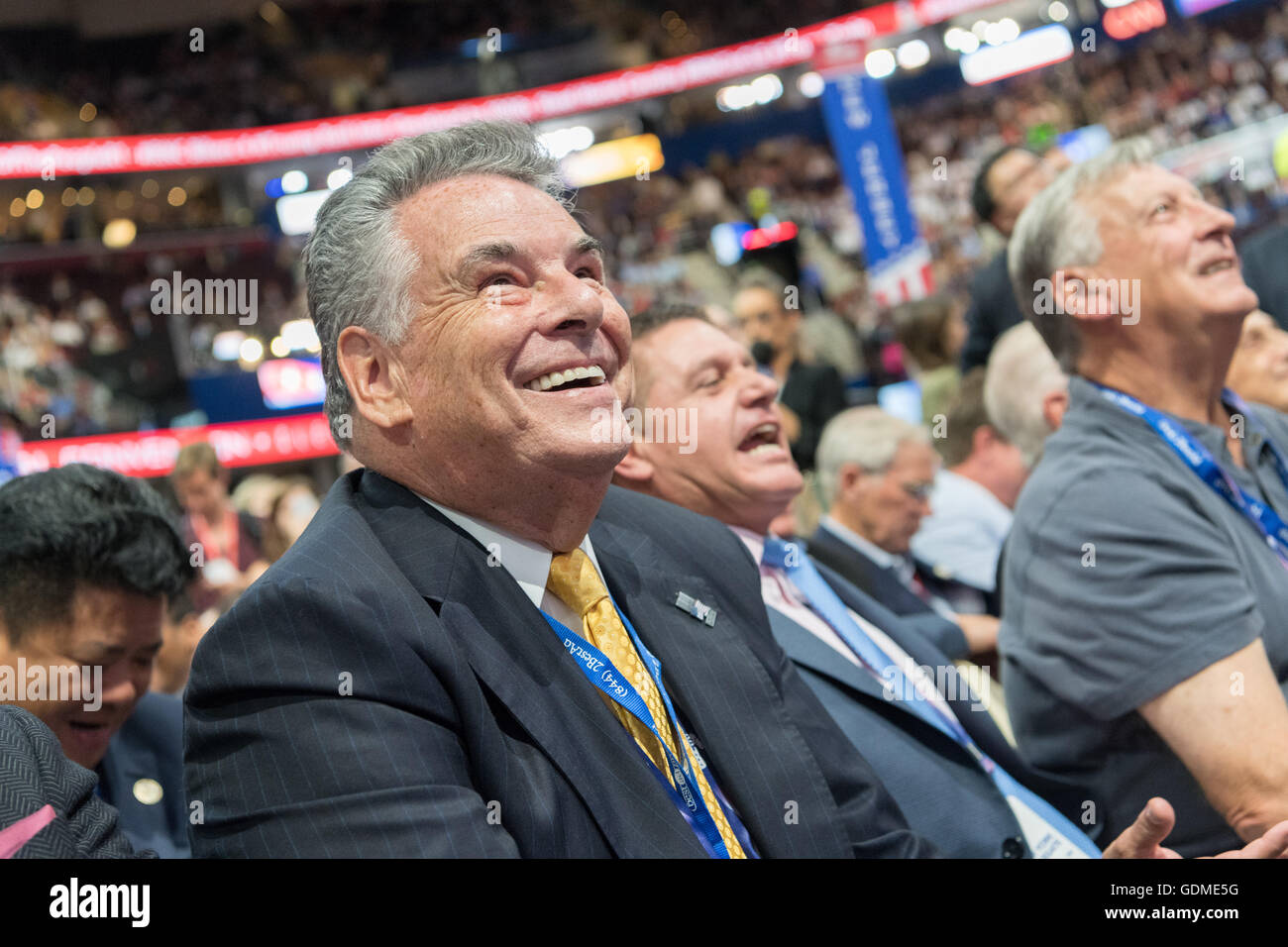 Cleveland, Ohio, USA. 19th July, 2016. Congressman Pete King of New York smiles during the nomination process for - Stock Image
