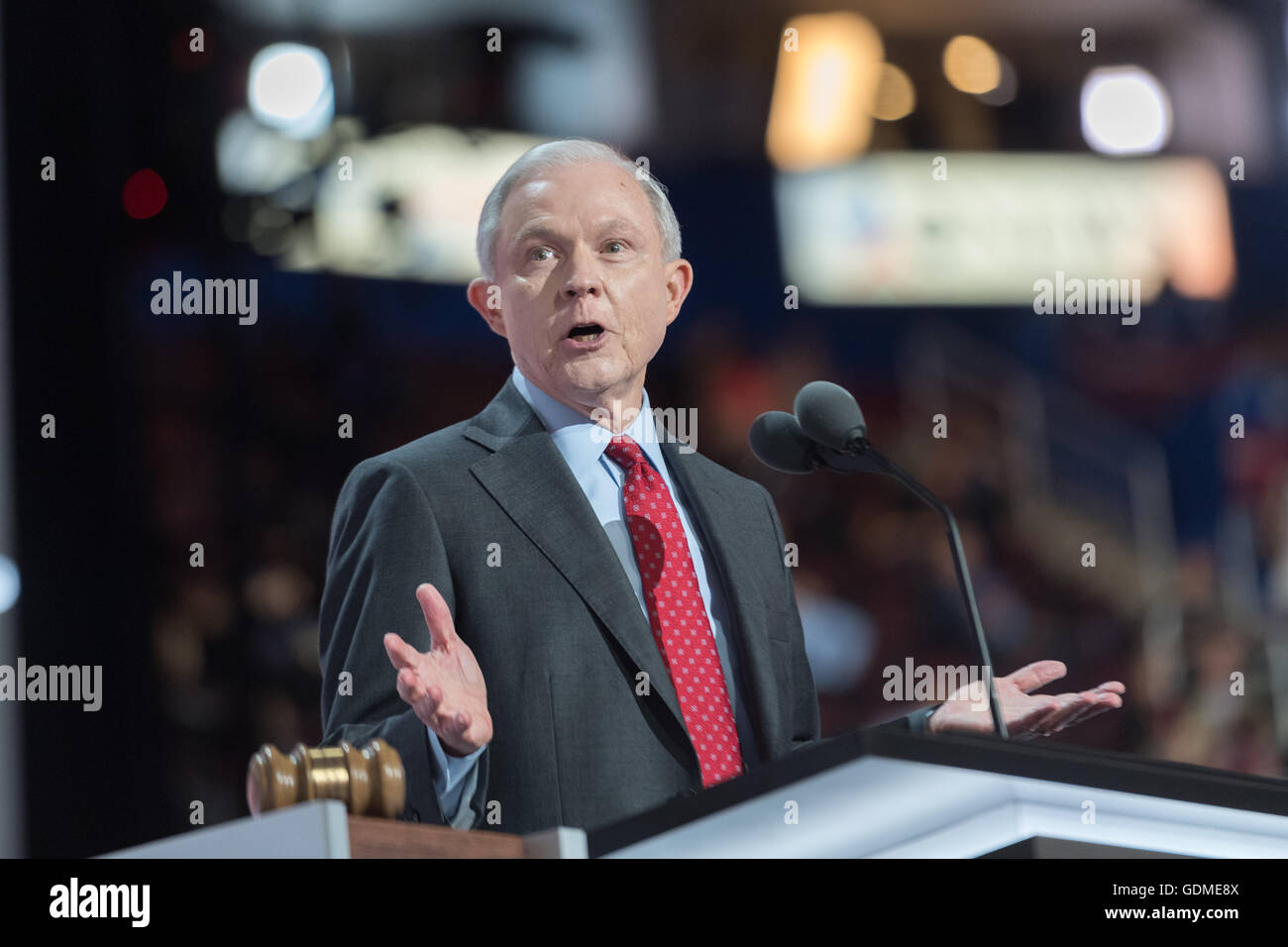 Senator Jeff Sessions of Alabama seconds the nomination of Donald Trump before the roll call during the second day - Stock Image