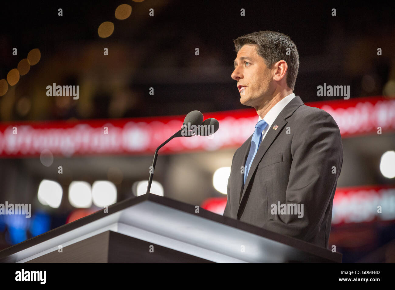 Cleveland, Ohio, USA. 19th July, 2016. Speaker of the House Paul Ryan, on the second night of Republican National - Stock Image