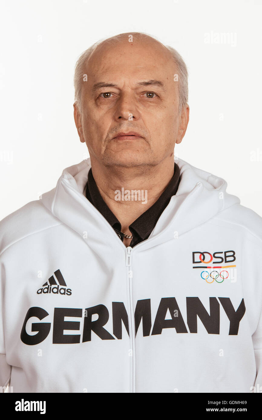 Hannover, Germany. 15th July, 2016. Vladimir Komkov poses at a photocall during the preparations for the Olympic - Stock Image